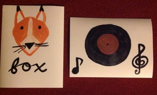 Painting of a fox and record.